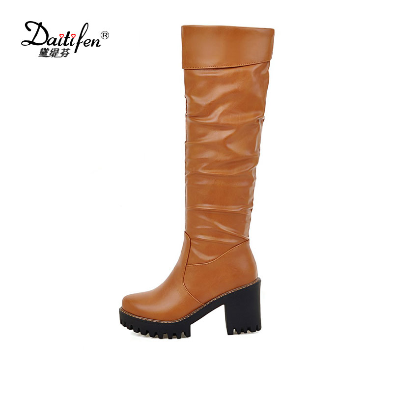 Daitifen 2017 Woman Boots Knee High Boots Square High Heel PU leather Women Shoes Ladies Motorcycle Long Boots Size 34-43<br>