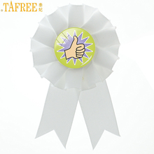 TAFREE fashion awards men women ribbon rosette brooch pins I Met My Learning Goal trendy school students brooches gifts CT883