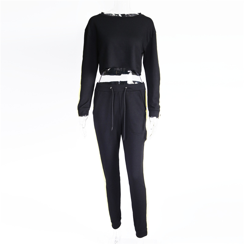 Women's Two Piece Set, Sweater Shirt Hoodie, Black Side Stripe Pants 17