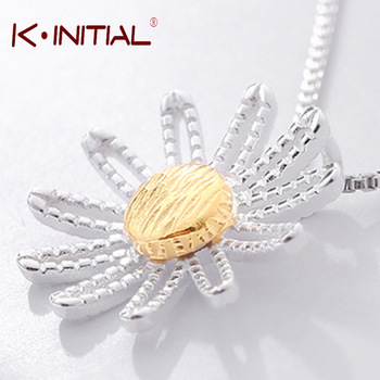 Kinitial 1Pc 925 Silver Cherry Flower Necklace for Women Fashion Jewelry Gift Korean Sunflower Necklaces & Pendants Bijoux
