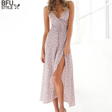 Buy Floral Print Chiffon Long Dress 2017 Sexy V Neck Backless Boho Beach Dress Vestidos Women Split Summer Sundress Maxi Dress for $9.83 in AliExpress store