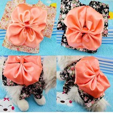 Dogs cats fashion bowknot floral dress costume doggy spring summer suit pet dog cat sweaters accessories pets clothes 1pcs(China)