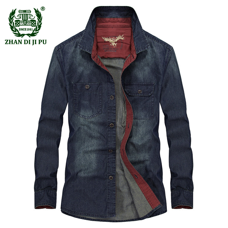 2018 Spring men casual brand 100% cotton cowboy shirts autumn man large size M-4XL fashion afs jeep denim blue long sleeve shirt