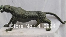 ZCD Nice Discount ] Exquisite Chinese Folk Art collection Old Bronze animal leopard panther catamount Statue