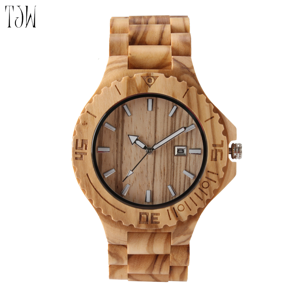2018 Hot Sell Men Dress Watch Men Wooden wristwatch Quartz Watch male with Calendar Bangle Natural Wood Watches Gifts Relogio<br>