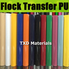 Premium quality Flock PU FILM SIZE:0.5*25meter Flocking Heat Transfer Vinyl For Plotter Transfer in 12 Colors BY Free shipping(China)
