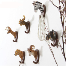Creative American Jungle Animals Elk Zebra Elephant Parrot Sitting Room Bar Adornment Resin Hooks Wall Hook A157(China)