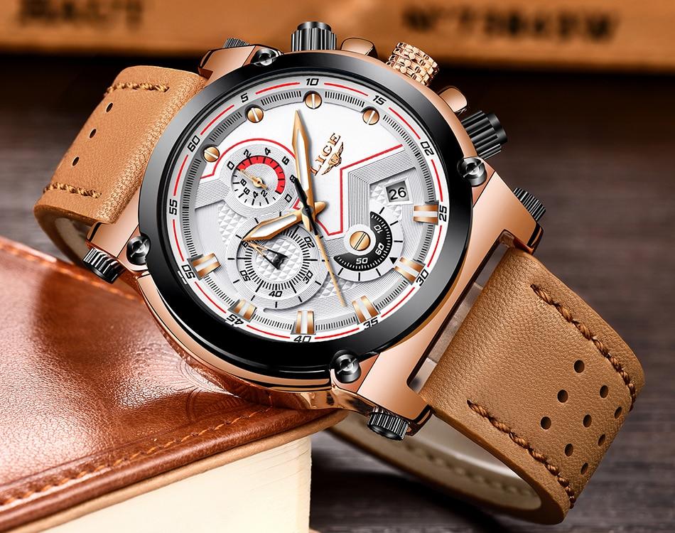 Reloje 18 LIGE Men Watch Male Leather Automatic date Quartz Watches Mens Luxury Brand Waterproof Sport Clock Relogio Masculino 22