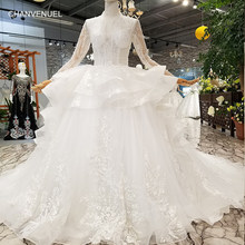 LS245787 2018 new design wedding gowns deep v-neck long sleeves ruffle ball gown  puffy customized wedding dress with long train aa11a5c3c8b5