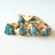 10pcs/lot In Mixed Colors New Drusy Druzy Rings for Women Natural Stone Quartz Ring Whosale Free Shipping