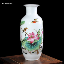 Lotus Pond Ceramic Vase Home Decoration Ancient Porcelain Vase Flower Decoration Adornment Handicraft Furnishing Articles