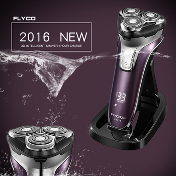 Flyco 3d cabeza flotante cuerpo lavable máquina de afeitar eléctrica recargable portátil llevó la luz de carga rápida de triple cuchilla barbeador fs376