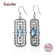 Szjinao Women Sparkling Blue Crystal Bridal Long Earrings OL Vintage Teardrop Fish Pattern 925 Sterling Silver Indian Jewelry(China)