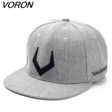 VORON High quality grey wool snapback 3D pierced embroidery hip hop cap flat bill baseball cap for men and women