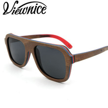 Viewnice 2017 New Skateboard Wood sunglasses Color Women Polarized Sun Glasses Anti-UV400 Hand making Polarized eyewear V7585(China)