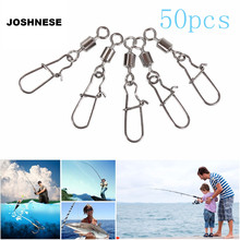 JOSHNESE 50pcs/lot Fishing Ball Bearing Rolling Swivel Steel Alloy With Snap Fishhook Lure Connector Fish Hook Tackle