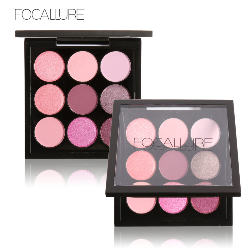FOCALLURE 9 Colors Makeup Eyeshadow Palette Makeup Eyeshadow Palette Matte&Shimmer Smoky Eye Shadow Palette(China)