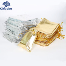 50PCS Silver/Gold Color Metallic Foil Organza Pouches Christmas Wedding Party Favour Gifts Candy Bags 7X9/9X12/10X15/13X18cm