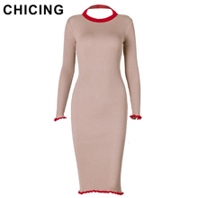 CHICING High Street Women Knitted Hit Color Midi Dress 2017 Long Sleeve Backless Bodycon Sexy Halter Dress vestidos A1708023