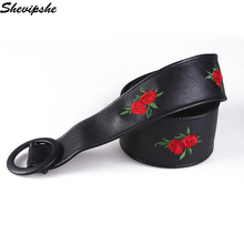 Women Ladies Embroidery Belts Girls Pin Buckle Wide Braided Leather Black Stretchy Elastic Waist Belt Waistband Waist Belt