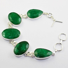 Emeralds  Bracelet   Silver Overlay over Copper ,23cm, B1457