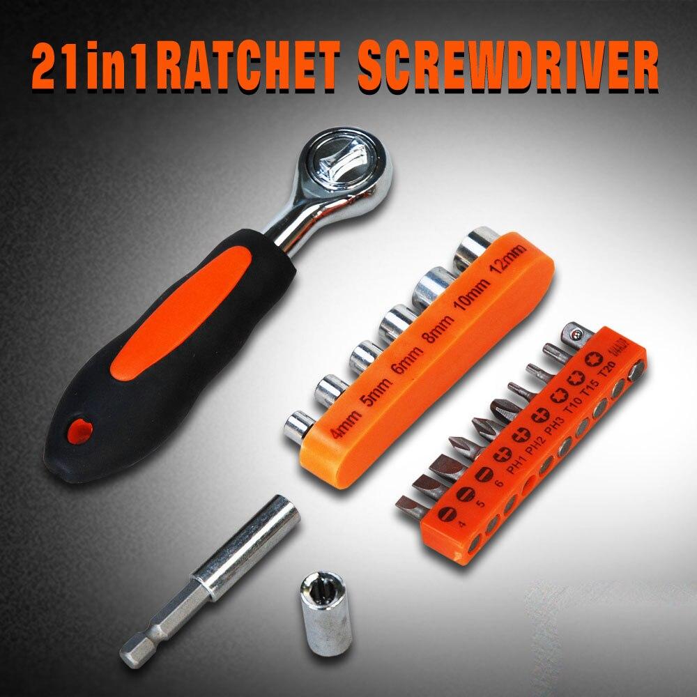 2017 Llaves Herramientas 21 In 1 Ratchet Screwdriver Socket Set Household Multi-purpose Batch Head Tool Box High Quality Ad1025 <br><br>Aliexpress
