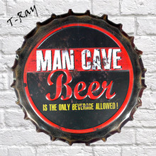 35cm Round Man cave Beer sold Here Bottle Cap vintage Tin Sign Bar pub home Wall Decor Metal art Poster RM-99(China)