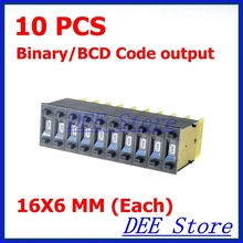 10 pcs 0-9 Digital One Unit 16x6mm Binary/BCD Code Output Pushwheel Thumbwheel Switch