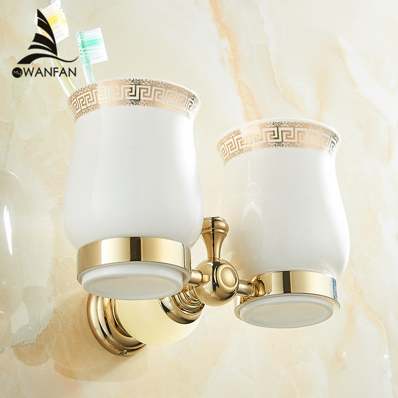 Cup &amp; Tumbler Holders Jade Golden 2 Ceramic-Bathroom Accessories Wall Mounted Bathroom Double Toothbrush Cup Holder HY-33<br>