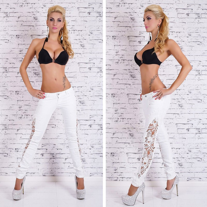 New sexy hollow out  lace jeans patchwork white pants floral appliques trousers full length plus size for women womansОдежда и ак�е��уары<br><br><br>Aliexpress