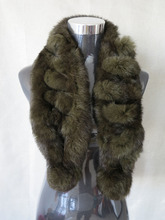 Genuine  rabbit fur  scarf wrap cape two balls green with black tips shipping free