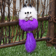 Mobile Phone Strap new fashion imported Genuine mink fur lovely colorful mini Mr. Fox Keychain small jewelry bags car trinket