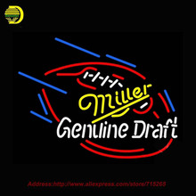 Miller Genuine Draft Foot Ball Neon SIGN Neon Bulb Recreation Glass Tube Handcraft Advertise Affiche Neon Store Display 30X24(China)