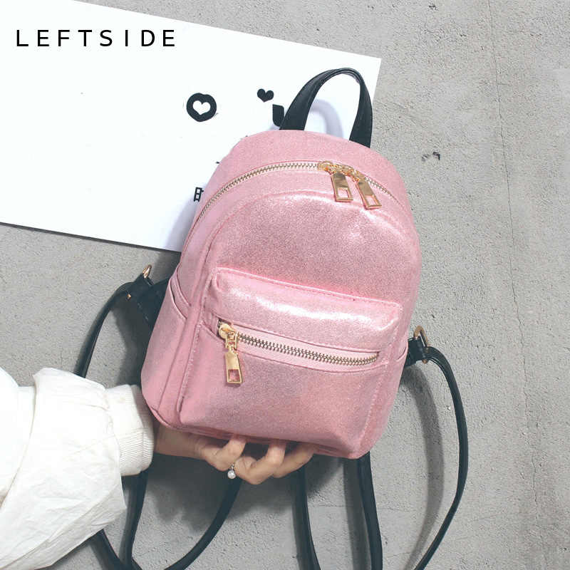 LEFTSIDE 2018 Mini Backpack Travel Women Glossy Backpacks Small Back Pack  For Teenagers Girls Female Bagpack 5d26442d2755
