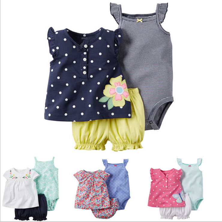 baby girls new style summer clothing set  bebes bodysuits+short+t shirt 3pcs undershirt Shorts clothes children pajama set<br><br>Aliexpress