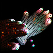 10pairs/lot Hot Party decoration supplies LED Sequined Gloves Unisex Light Up Night Flashing Toys Gloves Cool Stage Props