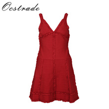 Promotion!!Ocstrade High Quality Rayon Jacquard Dress Fabric 2017 Women Red Sleeveless A Line V Neck Bodycon Bandage Dress Mini(China)