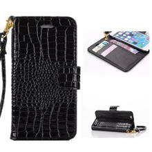 Hand Strap Wallet Case For iphone 5 5S Flip Cover Luxury Crocodile Grain Leather Pouch Case For Apple IPhone SE Mobile Phone Bag(China)