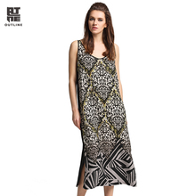 Outline Women Long Dress Summer Vintage Exotic Print Sleeveless O-neck Split Hem Linen Patchwork Plus Size Party Dress L172Y016