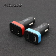 AIXXCO Car Charger For iPhone iPad Samsung 2 Port USB LED Screen Smart Auto Car-Charger Adapter 2A Mobile Phone Charging(China)