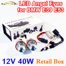 flytop 1 Set 2*20W 40W LED Marker Angel Eyes Retail Box 7000K XENON White for E39 E53 E60 E61 E63 E64 E65 E87(China)