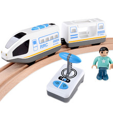Top Quality Remote Control RRC Train Set Locomotive Telecontrol High Speed Train for Wooden Railway Track Toys(China)