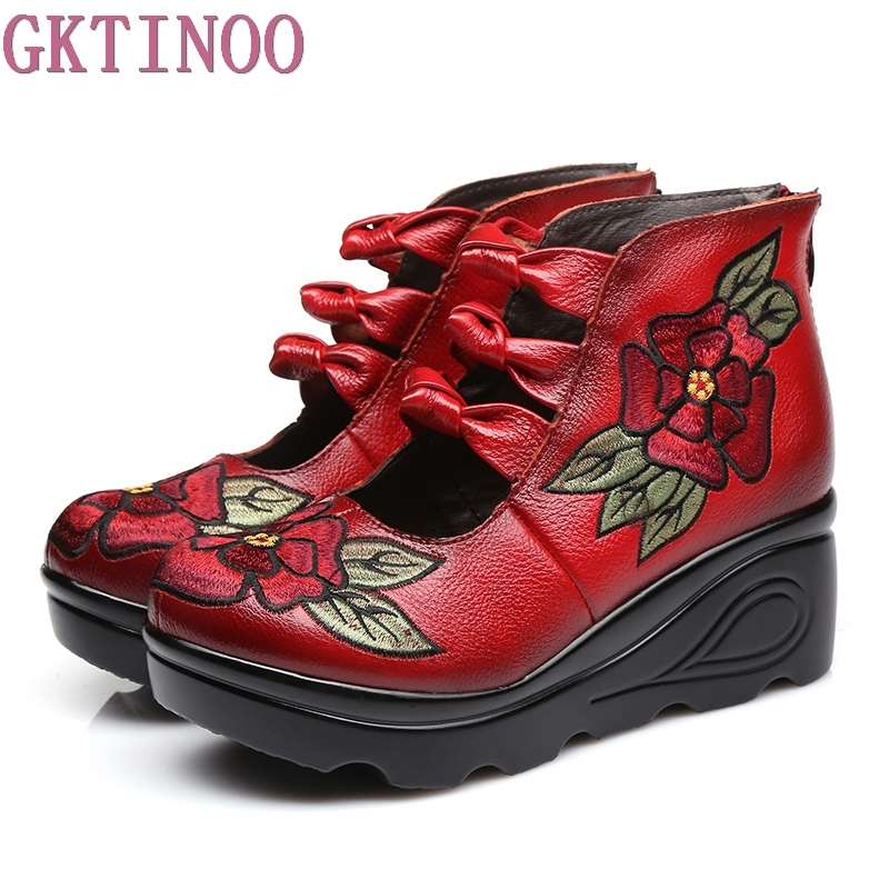 New Spring Genuine Leather Women Pumps Platform Wedges Round Toes Embroider Back Zip High Heel Handmade Women Shoes<br>