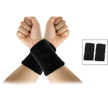 Wholesale 10* Black Elastic Terry Wrist Sweatband Sports Support 2Pcs