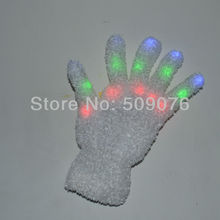 Free shipping 400pcs(200pairs) 7Modes white gloves led glove rave light  led finger light gloves for event & party supplies