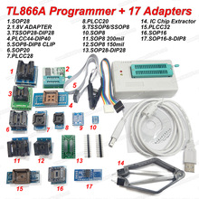 100% Original NEWEST TL866A Universal Minipro Programmer+17 Adapters+SOP8 Test Clip IC clamp Bios Flash EPROM EEPROM(China)