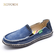 XGVOKH New Men Jeans Canvas shoes Breathable High Quality Shoes Slip On Men's Fashion Flats Loafer