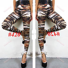 Fashion Girl Punk Gothic Zebra Leopard Striped Leggings Elastic Waist Pencil Fitted Long Pants(China)