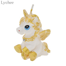 Lychee Mini 3D Unicorn Candles Children Birthday Party Supplies Theme Party Cake Topper Decoration Candles(China)