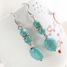 ZOSHI Brand design hot sales new fashion Personalized  long natural blue stone long drop earrings for women vintage Earring